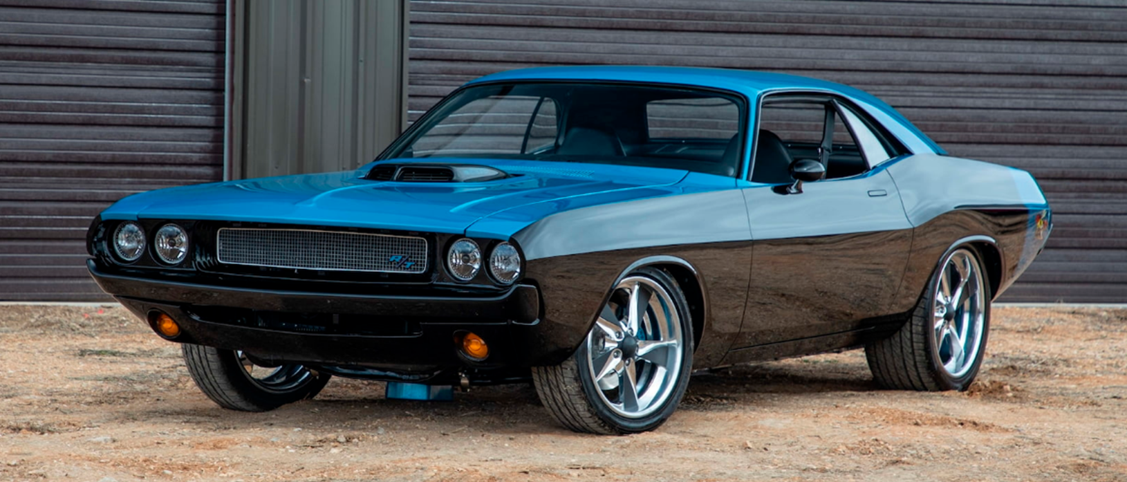 Blue and black 1970 Dodge Challenger Resto Mod