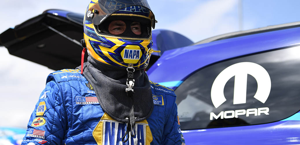 Ron Capps with his racing gear on
