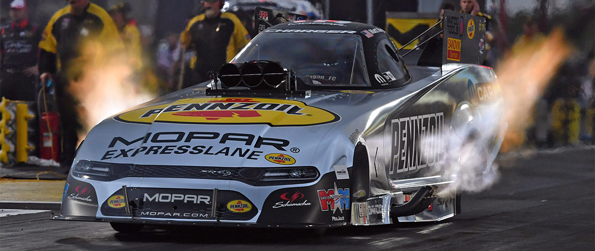 Matt Hagan driving his Pennzoil Mopar Express Lane Funny Car