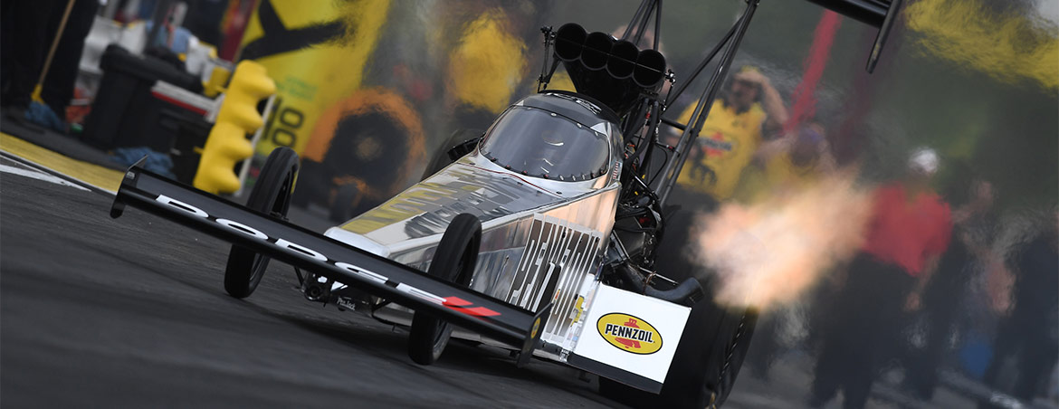 Leah Pritchett driving her Pennzoil Top Fuel Dragster