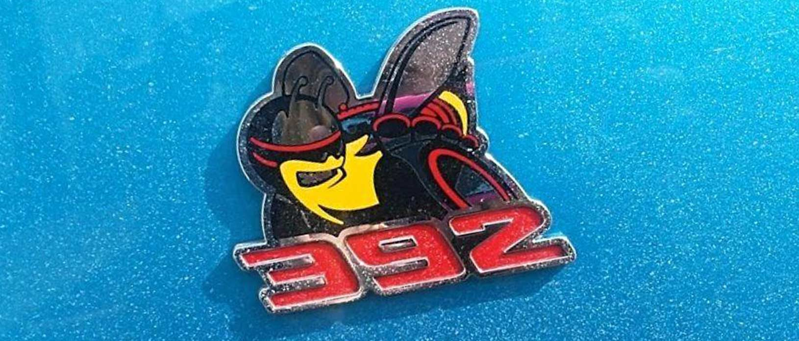 392 Scat Pack badge on the side of a B5 Blue Challenger