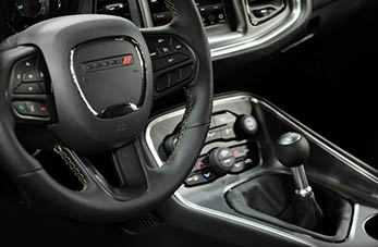 steering wheel and shifter in stars and stripe package