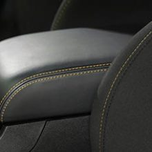 Gold stitching on seat and console of stars & stripes package