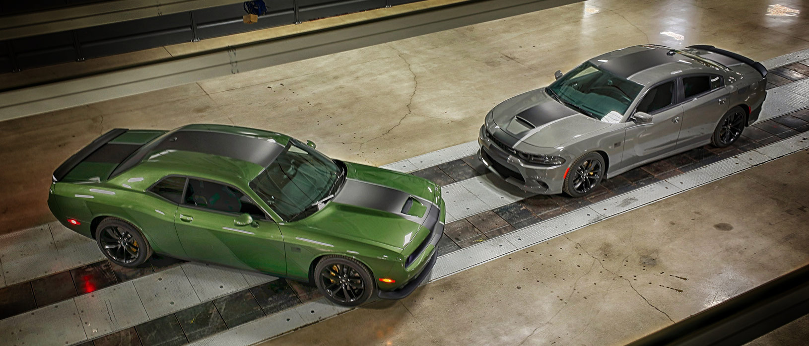 F8 green 2019 Challenger R/T and detroyer gray 2019 Charger Scat Pack in Stars & Stripes Package