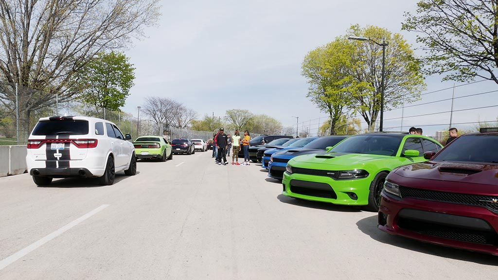 Dodge cars lined up