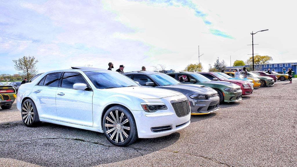 Row of cars outside