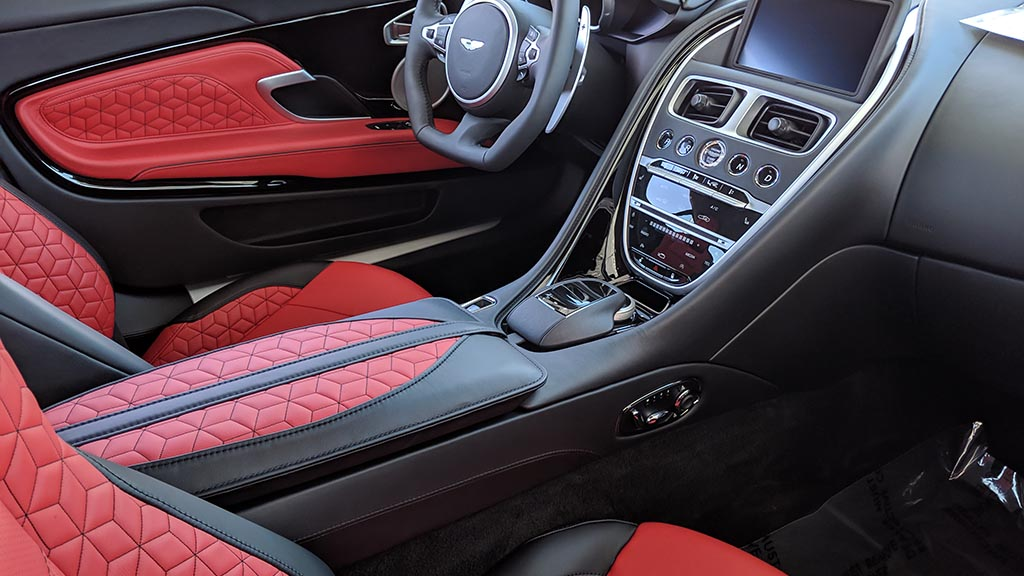 Black and red interior of a car
