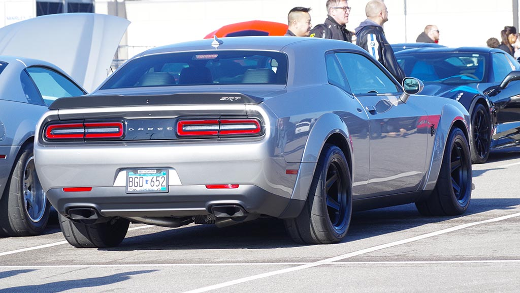 Rear end of Dodge Challenger SRT Demon at Cars & Coffee Minnesota