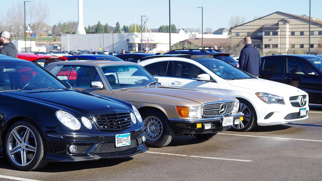 Row of Mercedes vehicles at Cars & Coffee Minnesota