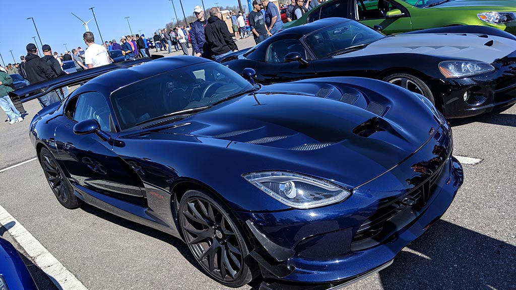 Blue Dodge Viper with black racing stripes