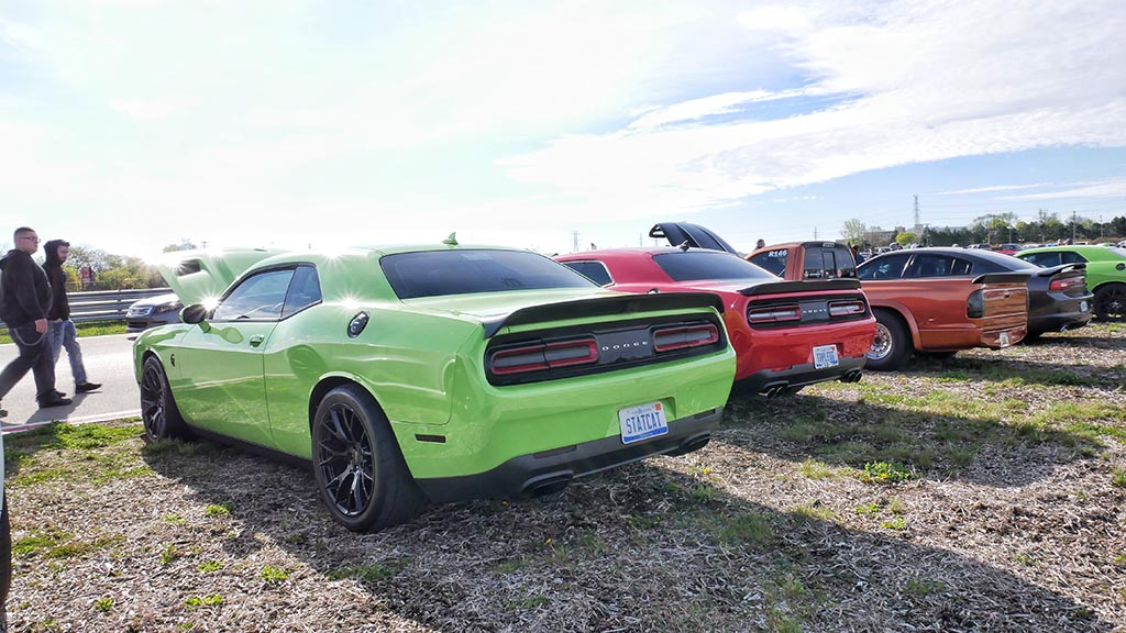 Row of Dodge Challengers at M1 Cars & Coffee