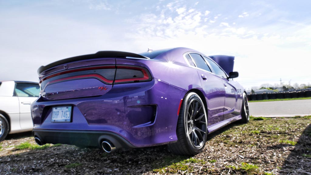 Back end of Plum Crazy Dodge Charger R/T