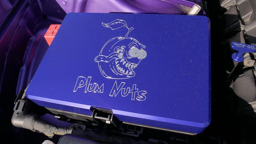 "Plum crazy with a pic of evil plum with the words ""Plum Nuts"" at M1 Cars & Coffee"