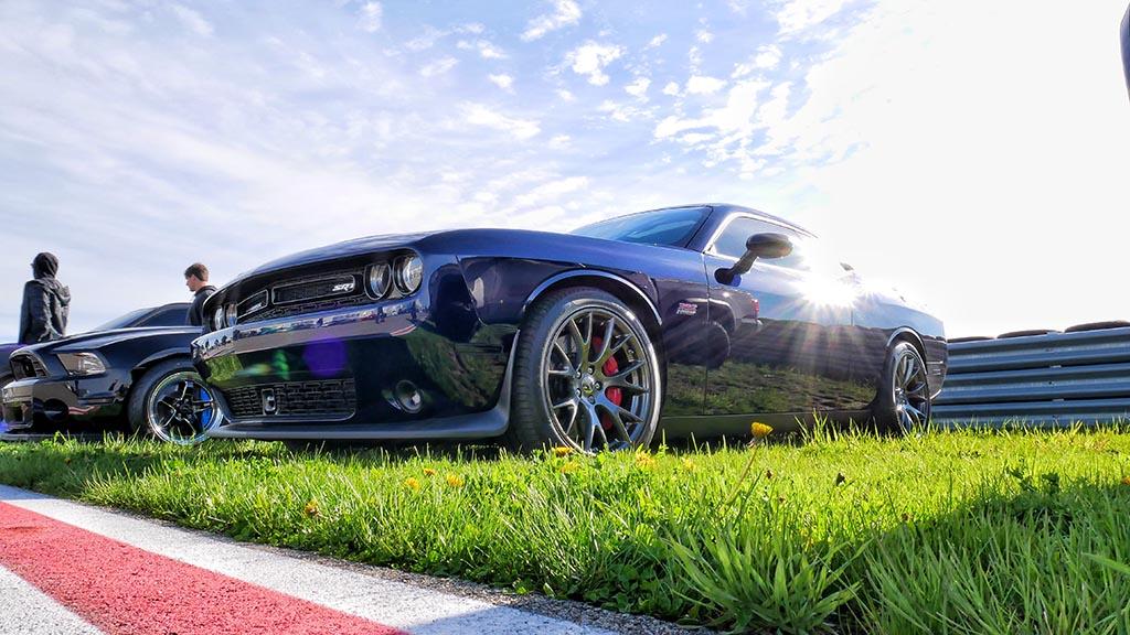 Black Dodge Challenger SRT at M1 Cars & Coffee