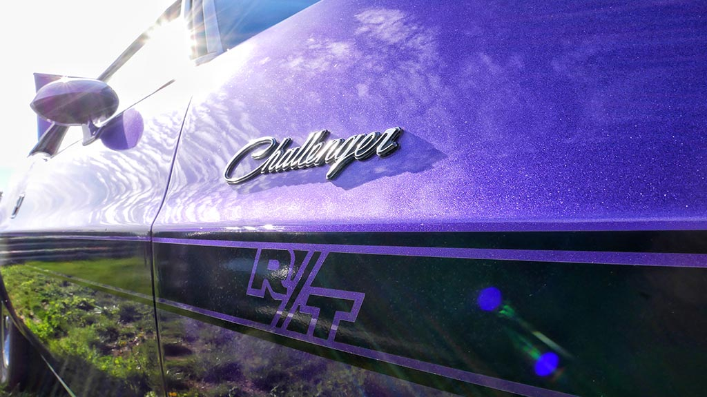 Vintage plum crazy Dodge Challenger R/T at M1 Cars & Coffee