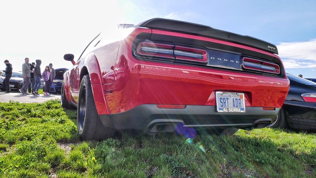 Rear end of Dodge Challenger SRT Demon with custom license plate SRT ADR
