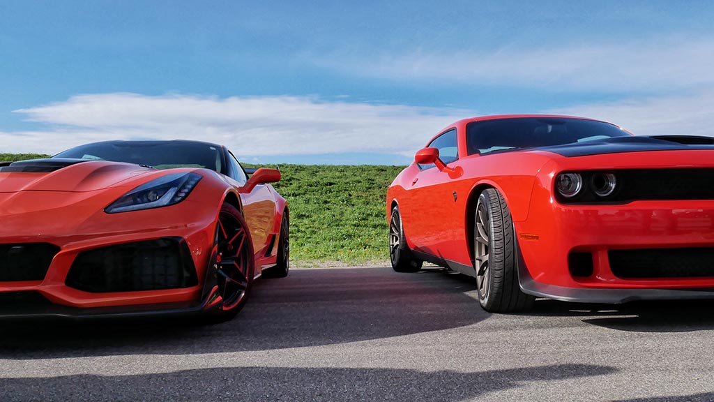Red Dodge Viper next to a red Dodge Demon at M1 Cars & Coffee