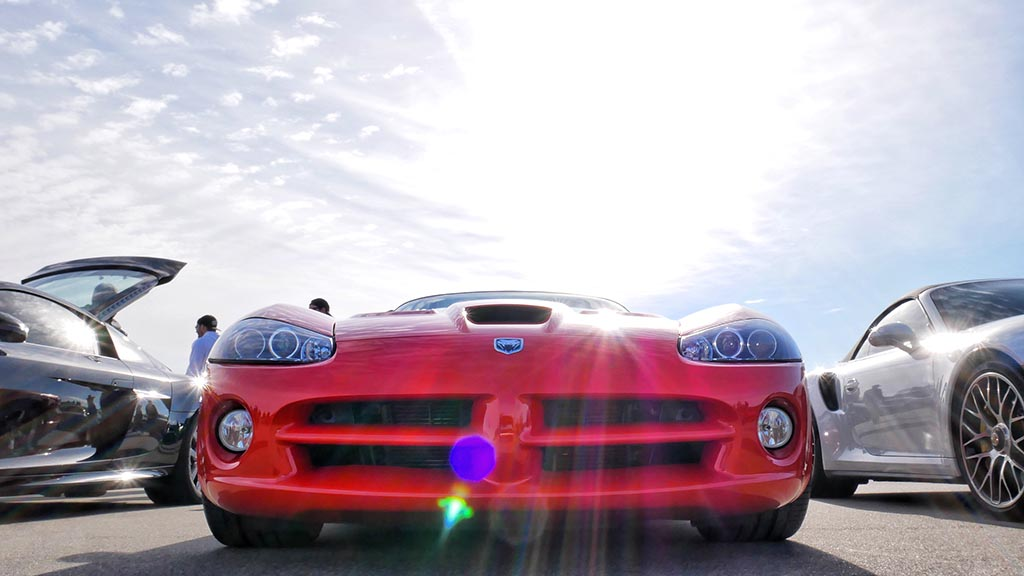 Front end of red Dodge Viper