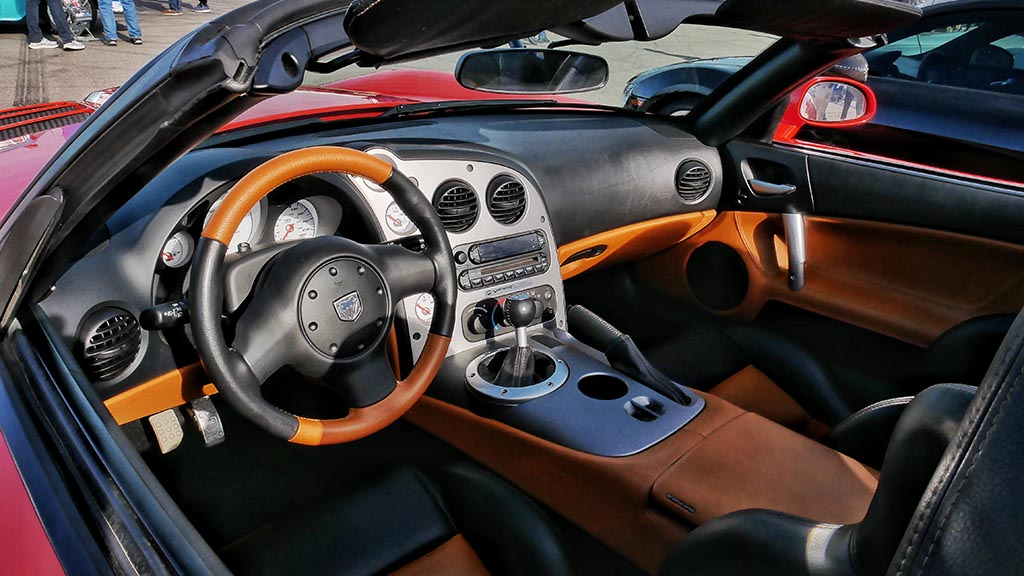 Interior of red Dodge Viper convertible