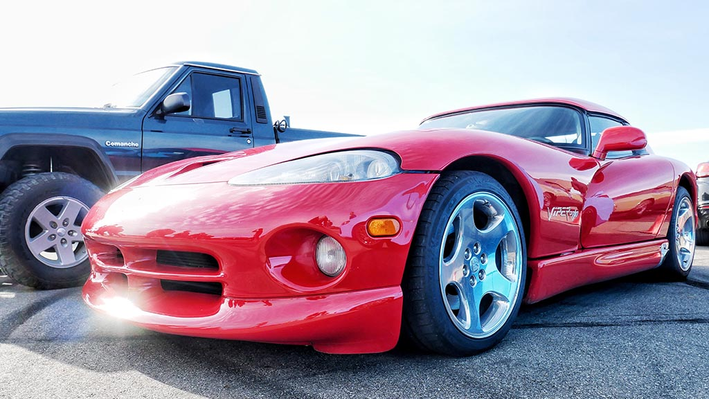 Front end of red Doge Viper at M1 Cars & Coffee