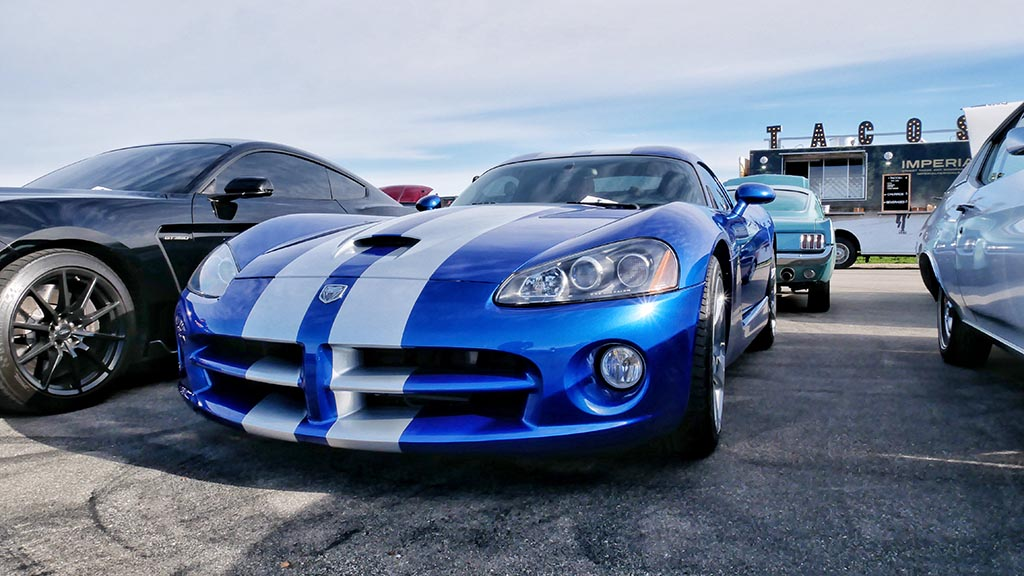 Blue Dodge SRT Viper with white racing stripe at M1 Cars & Coffee