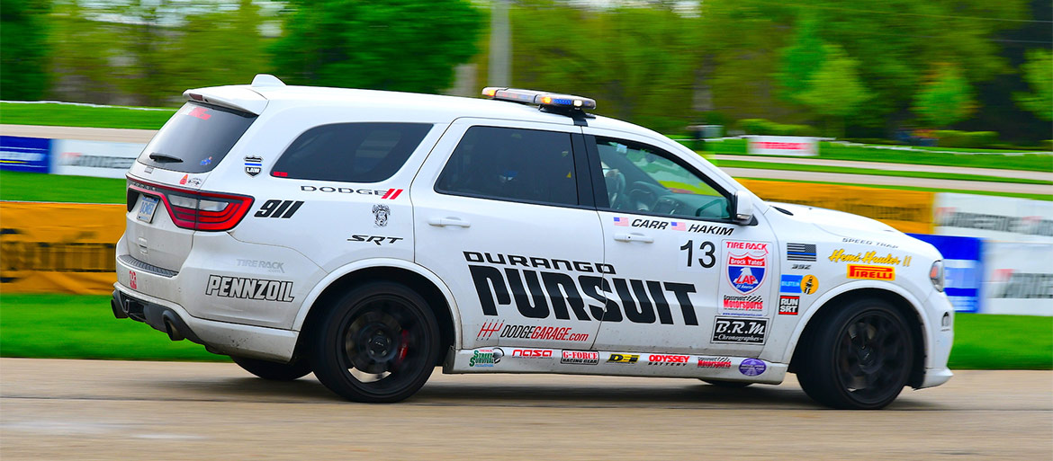 One Lap of America Durango SRT Pursuit racing on the track