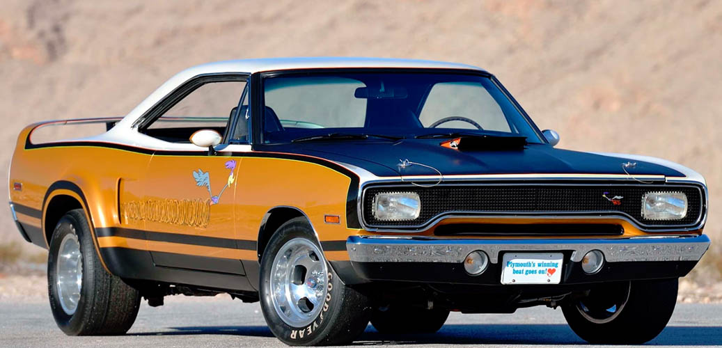 orange, black and white 1970 RTS Roadrunner