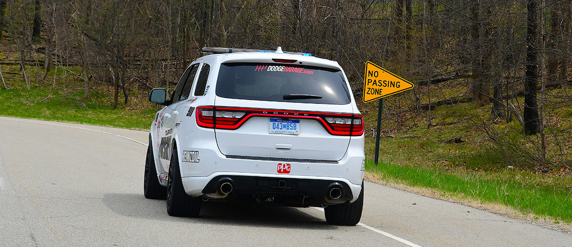 Rear end of the white Durango SRT Pursuit