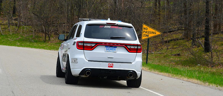 Rear end of the white Durango SRT Pursuit