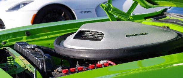 Engine of green HEMI 'Cuda