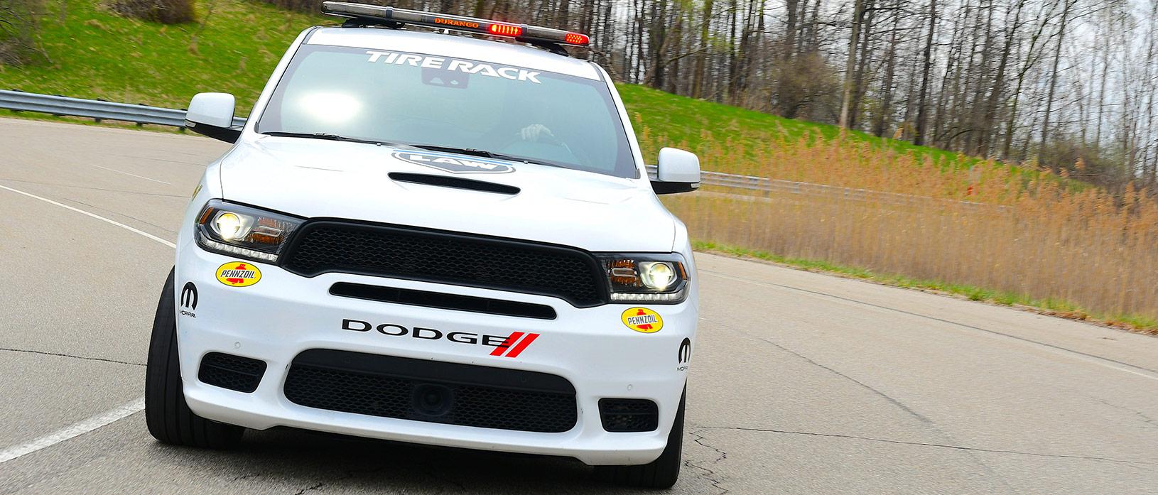 Front view of the white Durango SRT Pursuit
