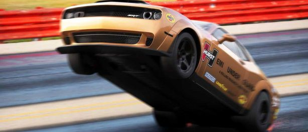 Dodge SRT Challenger on back wheels racing