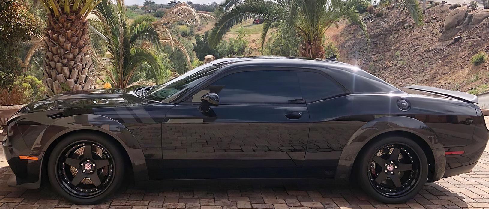 Black Dodge Challenger SRT Hellcat Widebody in carbon fiber