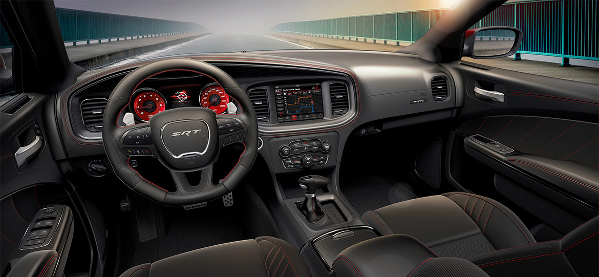 Interior view of Charger SRT hellcat Octane