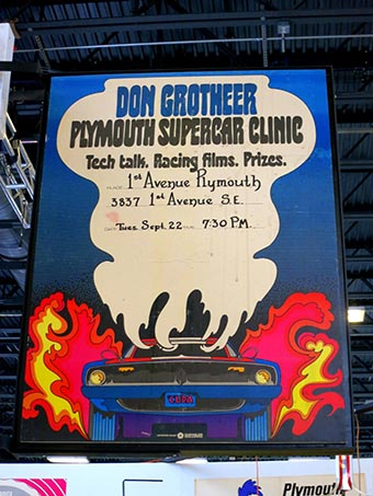 Large sign for a supercar clinic in 1970 form Don Grotheer.