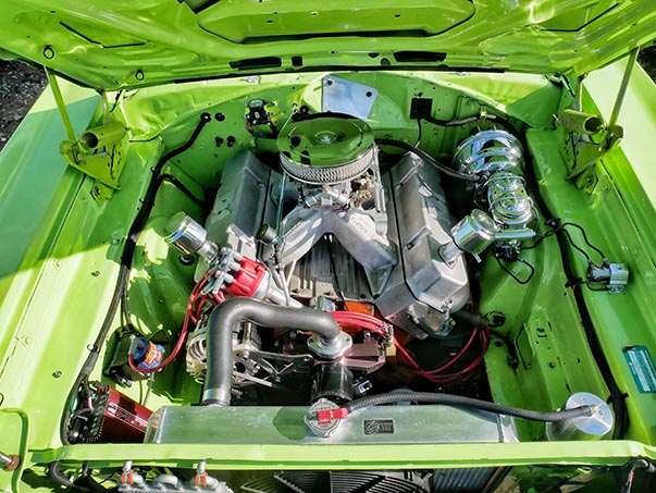 Engine of green Plymouth GTX