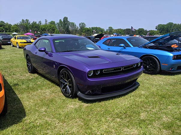 Row of Dodge Challengers at Mopars in the Park