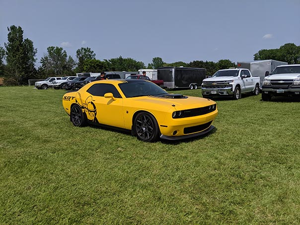 Yellow Scat Pack on display at Mopars in the Park