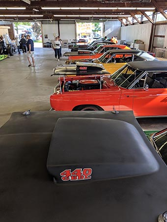 Rows of Roadrunners on display at Mopars in the Park