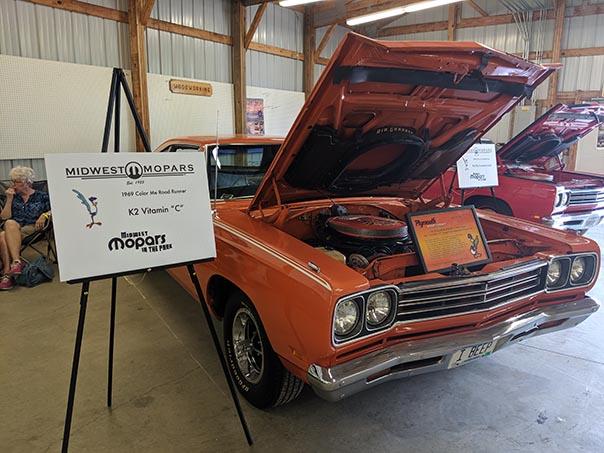 Orange Roadrunner on display at Mopars in the Park