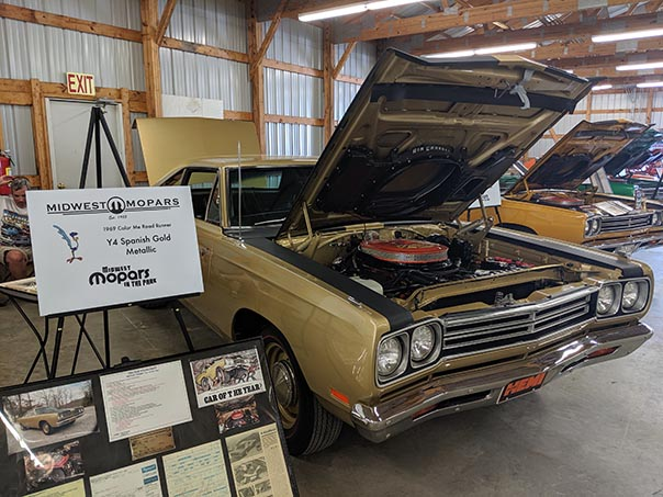 Gold Roadrunner on display at Mopars in the Park