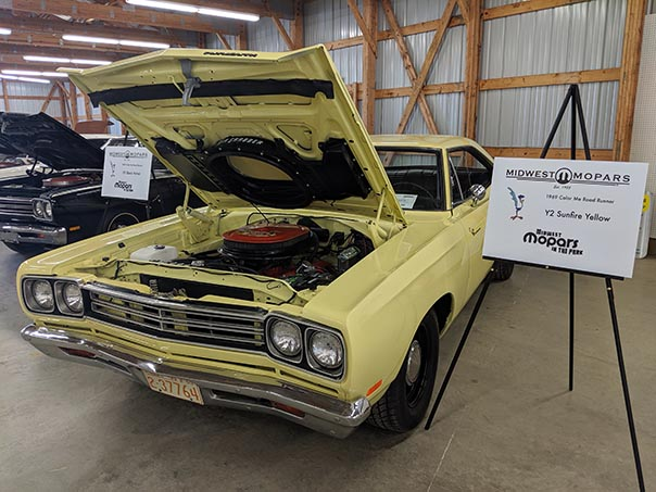 Yellow Roadrunner on display at Mopars in the Park