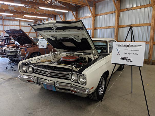 White Roadrunner on display at Mopars in the Park