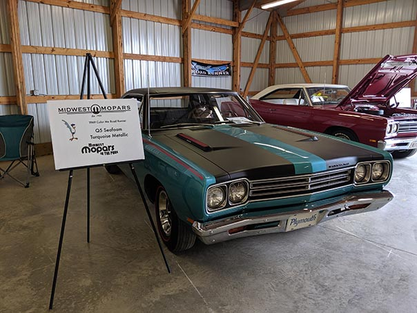 Turquoise Roadrunner on display at Mopars in the Park
