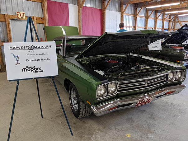 Green Roadrunner on display at Mopars in the Park