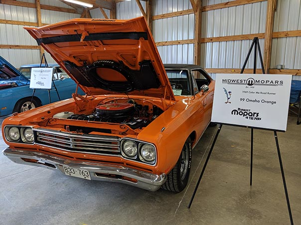 Organge Roadrunner on display at Mopars in the Park