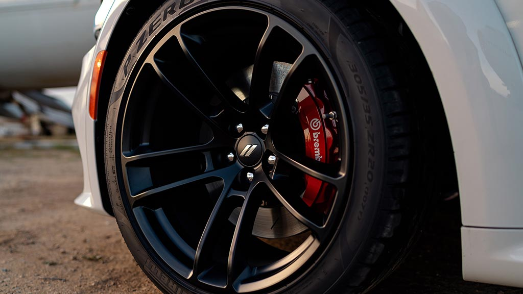 The optional wheels on the 2020 Dodge Charger Scat Pack Widebody are 20 x 11-inch forged split-five spoke with low-gloss Carbon Black finish