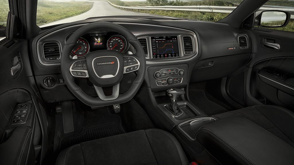 The 2020 Dodge Charger Scat Pack Widebody features an available new leather flat-bottom steering wheel