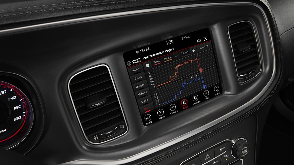SRT Performance Pages bring critical vehicle performance data to the driver's fingertips in the 2020 Dodge Charger Scat Pack Widebody