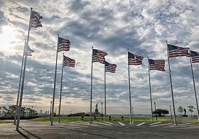a group of american flags on poles